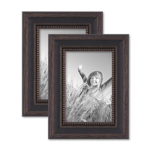 PHOTOLINI 2er Set Bilderrahmen 10x15 cm Shabby-Chic Landhaus-Stil Dunkelbraun Massivholz mit Glasscheibe und Zubehör/Fotorahmen