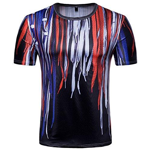 Camiseta de manga corta para hombre, diseño estampado, cuello redondo, para ocio Negro L