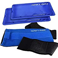 Rester's Choice Gel Cold & Hot Packs (2 Ice Packs) 5x10 in with 1 Adjustable Wrap. Reusable Warm or Ice Packs for Injuries, Hip, Shoulder, Knee, Back Pain
