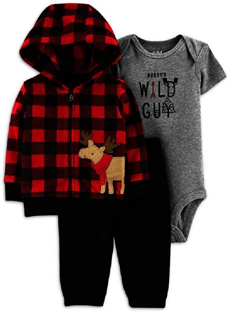 Child of Mine Baby Boy Hooded Fleece Cardigan and Fleece Pant 3pc Outfit Set (3-6 Month) Moose - Daddy's Wild Guy