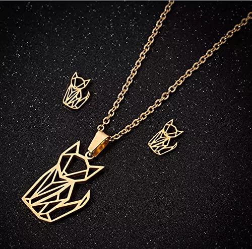 RTEAQ 2 Piezas Moda Collar Joyas Gargantilla Conjuntos de Joyas para Perros y Gatos de Origami Inoxidable Simple para niños, Collar de Color Dorado para Mascotas, Regalo de cumpleaños para Mujeres