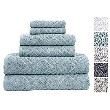 Classic Turkish Towels 6 Piece Cotton Bath Towel Set - Luxurious Soft and Thick Bath Towels 600 GSM Made with 100% Turkish Cotton - Gemstone Towel Collection