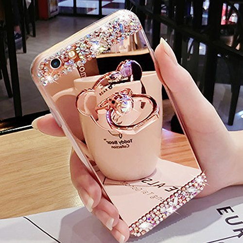 """IKASEFU Luxury Crystal Rhinestone Soft Silicone Rubber Bumper Bling Diamond Glitter Mirror Makeup Case Cover with Bear Ring Stand Holder Compatible with iPhone 7 4.7""""-Rose Gold"""