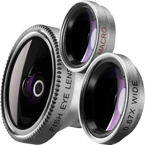 Ziu Smart Items - mobiele lenzen 3-in-1 set met geschenkzakje, clip-on-lens, macrolens + groothoek + visoog + compatibel met iPhone 8/7/6, Samsung S8/S7/S6, Huawei, Xiaomi enz.