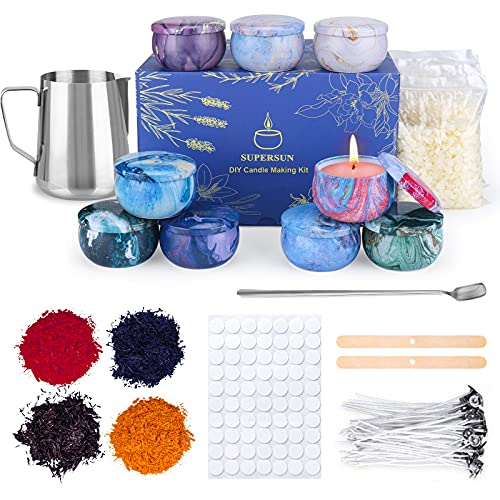 SUPERSUN Scented Candles Making Supplies - DIY Gift for Kid, Adult and Beginner, Include Candle Pouring Pitcher, Bees Wax, Center Devices, Tins, Wicks, Dyes, Wicks Sticker & Stir Rod