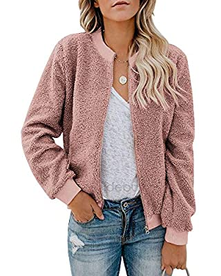 Eurivicy Women Fleece Jacket Winter Bomber Long Sleeve Faux Sherpa Fuzzy Casual Zip Up Coat Pocket