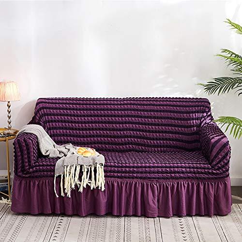 Funda para sofá de color rojo, 1 pieza, fácil de instalar, universal, alta elasticidad, duradero, protector de muebles con falda, estilo rural (3 plazas) C, 4 plazas