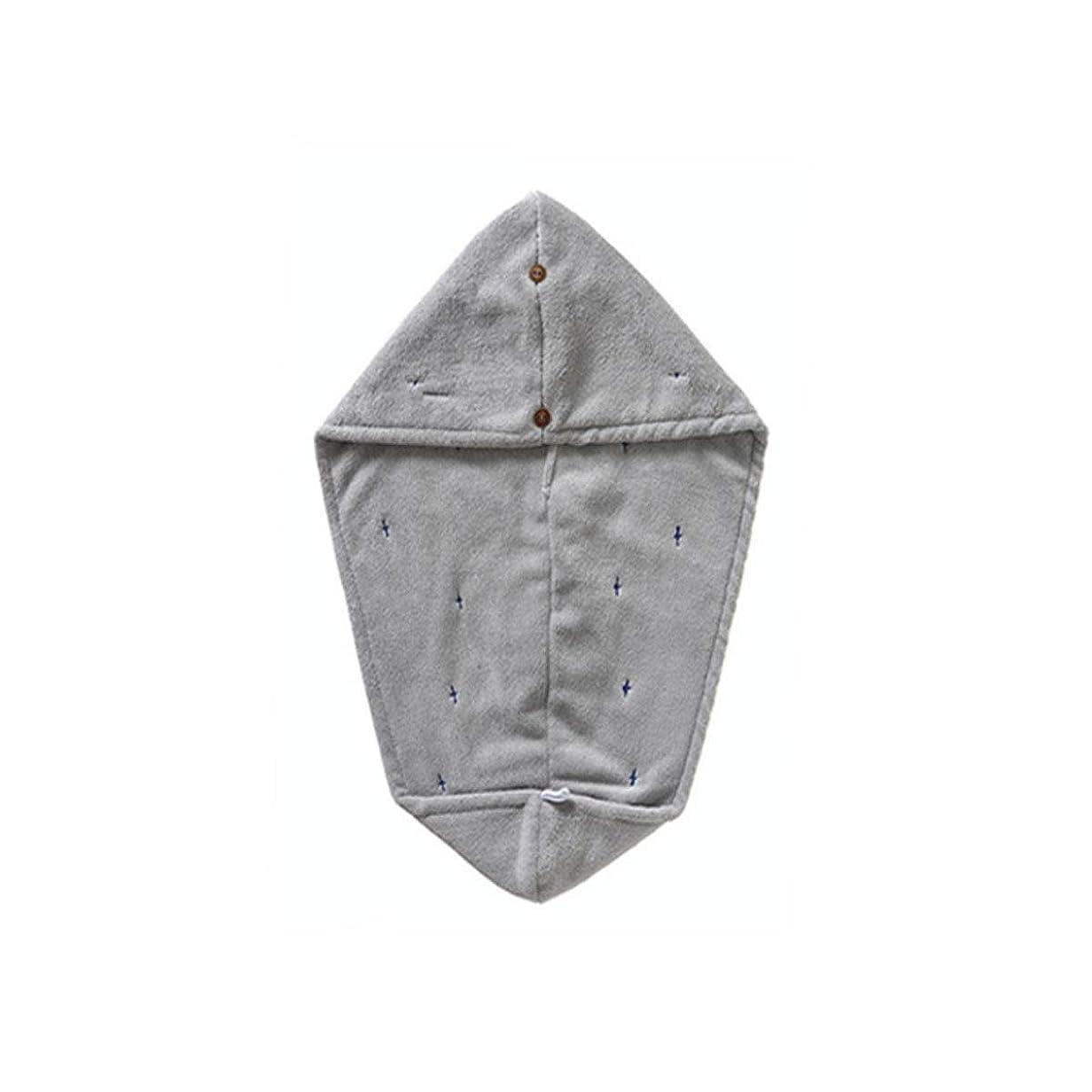 眠るコンテンツ超越するXIONGHAIZI シャワーキャップ、二層吸収性ソフトドライヘアキャップ、乾いたタオル、タオル、高品質 (Color : Gray)