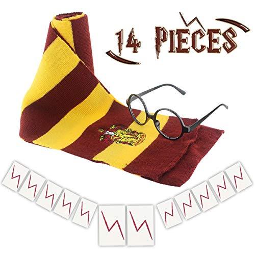 Wuree Novedad Bufanda Gafas con Marco Redondo Sin Lentes 12 Piezas Lightning Bolt Tatuajes para niños Fiesta de cumpleaños de Halloween Cosplay Accesorios