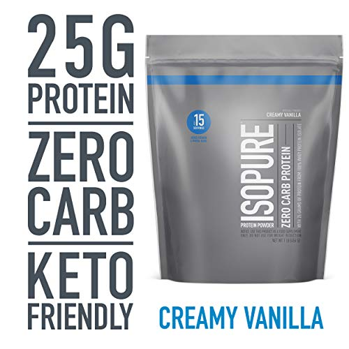 Isopure Zero Carb, Keto Friendly Protein Powder, 100% Whey Protein Isolate, Flavor: Creamy Vanilla, 1 Pound (Packaging May Vary)