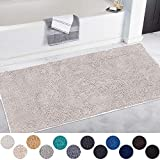 DEARTOWN Non-Slip Shaggy Bathroom Rug(31x59 Inches,White),Soft Microfibers Chenille Bath Mat with Water Absorbent, Machine Washable