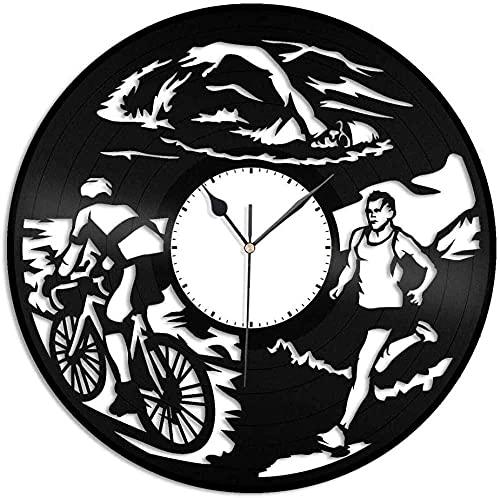 kkkjjj Reloj de Pared de Vinilo de triatlón-Reloj de Pared de Vinilo Retro para decoración del hogar