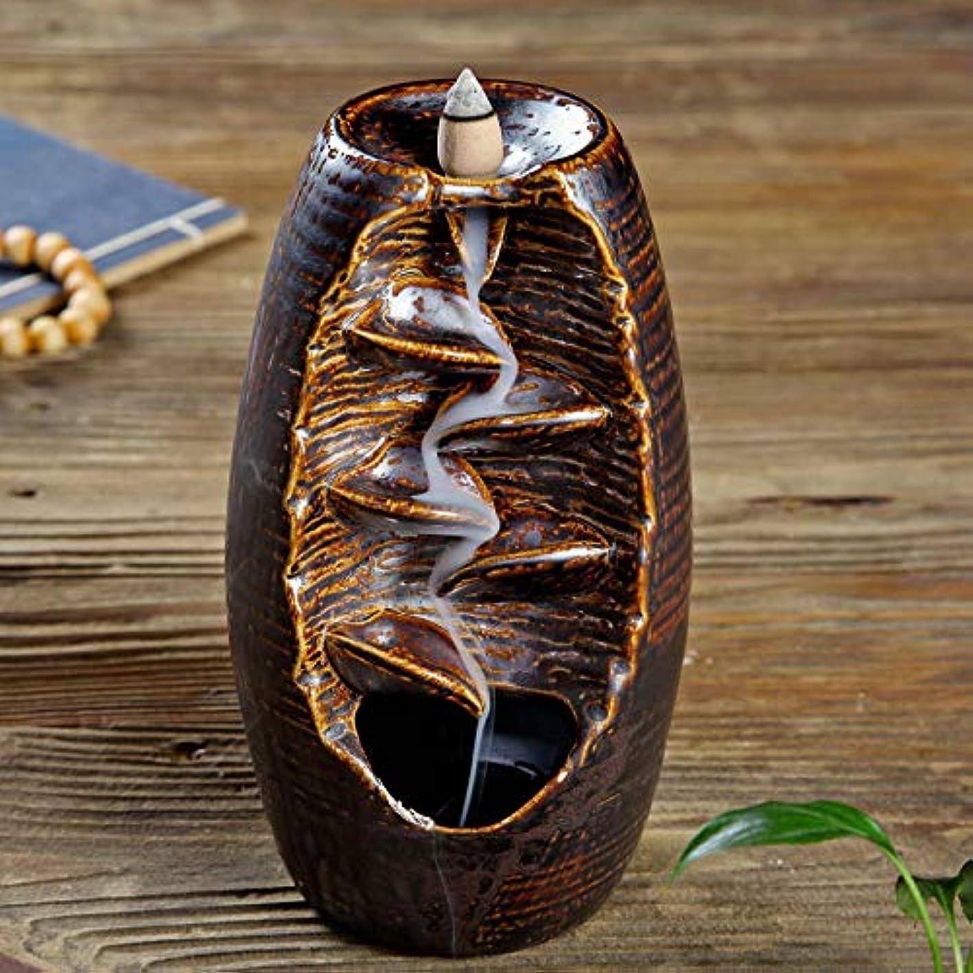 ダルセットバック要求するセラミック花瓶 スモークバック香炉 クリエイティブキルン 逆流アロマテラピー炉 家の装飾 ホームリビングルームの寝室のデスクトップの装飾