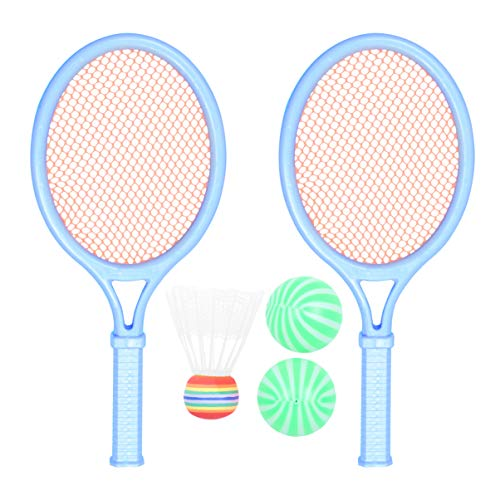 BESPORTBLE Conjunto de 2 peças de raquete infantil, tênis, badminton, raquete, brinquedo de aprendizagem, bola de praia, kit de jogos para atividades em ambientes internos para crianças e adultos (cor aleatória)