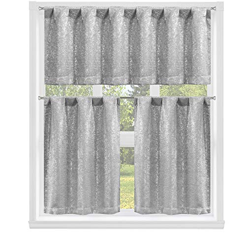 """kensie 2 Pack Sparkle Metallic Thermal Insulated Blackout Grommet Top Curtain Panels, 26"""" W x 36"""" L, Silver"""