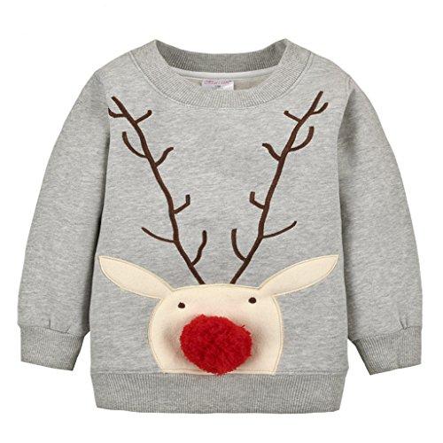 Felpe Sportive del Natale cervi per Bambine e ragazze Pullover Bambini a Manica Lunga Maglione Vine 5 anni