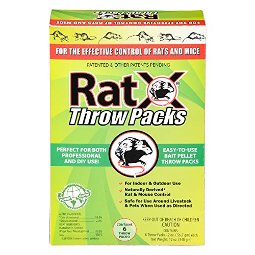 RatX Throw Packs Bait Pellets for Mice and Rats, Pack of 6