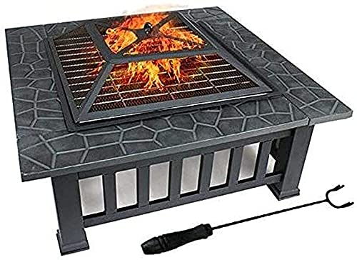 Large Fire Pit with BBQ Grill Shelf,Outdoor Metal Brazier Square 32' Table Firepit,Garden Patio Heater/BBQ/Ice Pit with Waterproof Cover