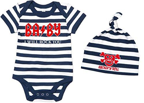Racker-n-Roll Baby I Will Rock You body + czapka zestaw Baby-Body w paski granatowo-biały