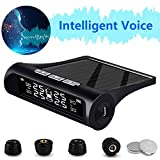 igingko Car Tire Pressure Monitoring System, Solar Power TPMS Wireless Smart Tire Safety Monitor with 4 External Cap Sensors, 6 Alarm Modes, Real-Time Pressure & Temperature Alert