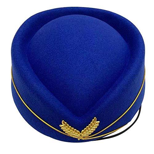 Sue-Supply Sombrero De Azafata De Mujer Gorra De Azafata De Lana para Mujer Boina Auxiliar De Vuelo Sombrero para Disfraz Cosplay Disfraz Accesorios
