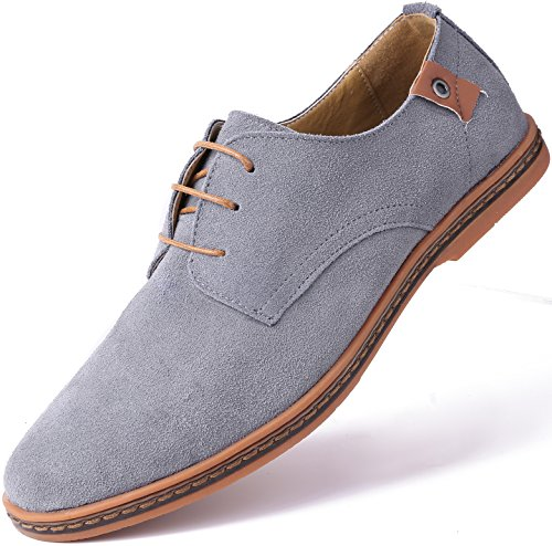 Marino Suede Oxford Dress Shoes for Men - Business Casual Shoes (Light Gray, 8.5)