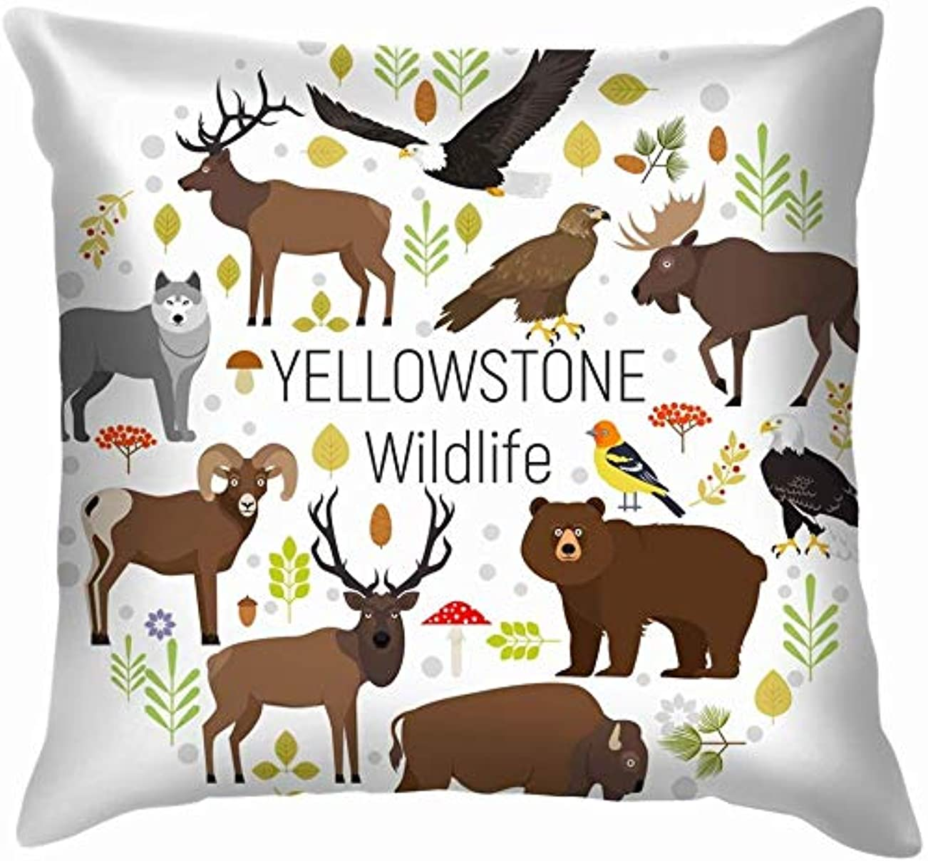 ドアミラー全部台風サークルセット植物イエローストーン国立動物野生動物ワシ投げ枕カバーホームソファクッションカバー枕カバーギフト45x45 cm