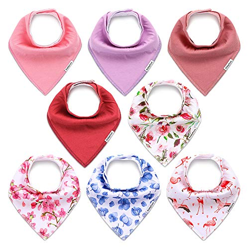 KiddyCare Baby Bibs for Girls 8 Pack - 100% Organic Cotton for Drooling and Teething - Super Absorbent Bandana Bibs for Baby Girl - Baby Shower Gift Set