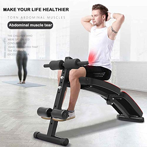 UPDD Sit Up Bench - with 3 Adjustable Height Settings and Fitness Rope | Adjustable Workout Foldable Bench - Fitness Equipment for Home Gym Ab Exercises 2021 New Version