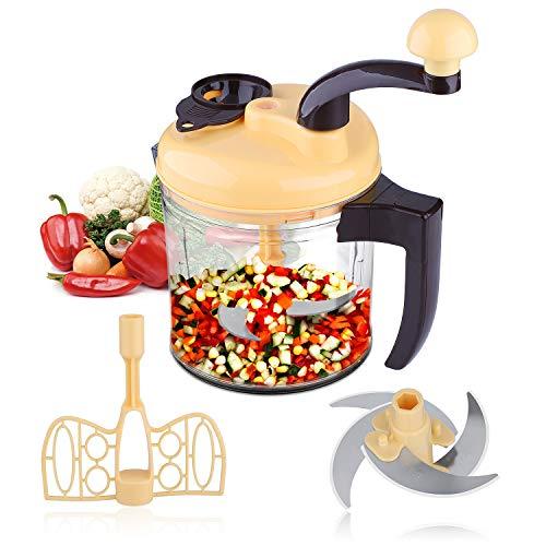 Jeslon Manuelle Küchenmaschine, zerkleinerer manuell/Schneider/Schaumschläger/Eidottertrenner/Gemüseschneider manuell, Salatschleuder and Sieb Zwiebelschneider zum