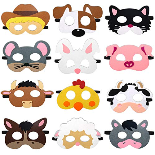 CiyvoLyeen Farm Animal Party Masks Barnyard Animal Felt Masks for Petting Zoo Farmhouse Theme Birthday Party Favors Kids Costumes Dress-Up Party Supplies(12 Pieces)