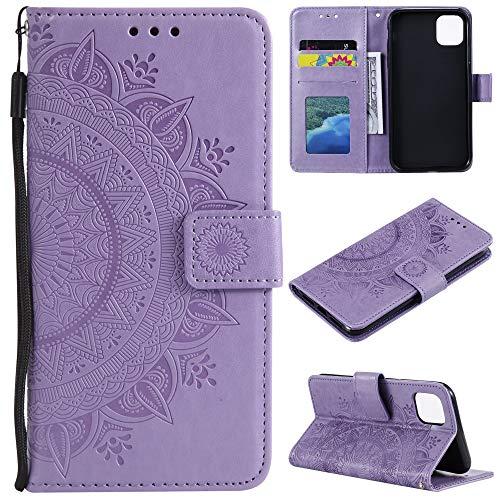 CoverKingz Handyhülle für Apple iPhone 12 Mini [5,4 Zoll] - Handytasche mit Kartenfach 12 Mini Cover - Handy Hülle klappbar Motiv Mandala Lila