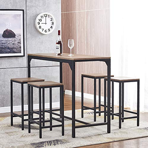 BonChoice 5 Pieces Bar Dining Table and Stool Set 4, Bar Counter Height Dining Table Stool Set, Great for Breakfast Nook, Kitchen Room, Mini Bar Pub or Patio (Brown)