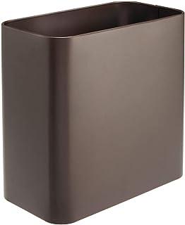 mDesign - Rektangulär soptunna – Sopkorg i rostfritt stål – Liten papperskorg för badrum, kök och kontor – Brons
