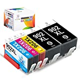 Miss Deer 902 902XL Ink Cartridge, Upgraded in Nov 2020, 100% Compatible for HP OfficeJet Pro 6978 6962 6968 6975 6960 6970 6950 6954 6979 6951 (2Black,1Cyan,1Magenta,1Yellow) 5-Pack