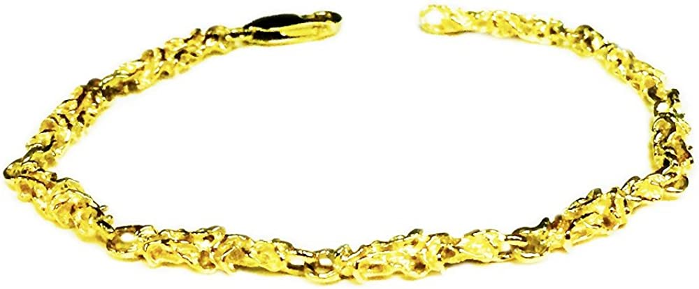 New sales 14kt Solid Yellow Gold Handmade Nugget famous Bracelet link 10 8