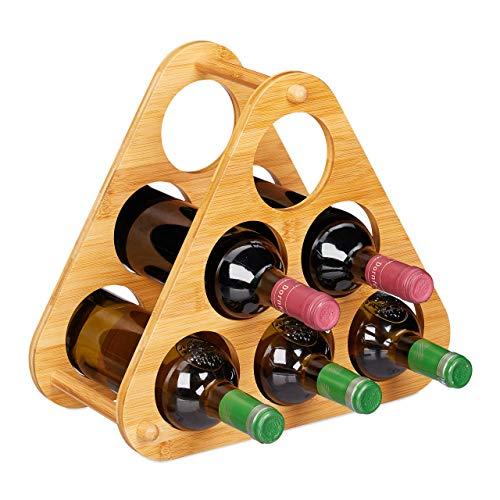 relaxdays Botellero para 6 Botellas, Estantería Vino Piramidal, Soporte Triangular, Bambú, 1 Ud, 31x34,5x19 cm, Marrón