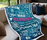 Anekha Mom Blanket - Double Layer Sherpa Fleece Throw Blanket – Lovely Gift for Mom on Birthdays, Special Occasions – Meaningful Words for Mom, 60in x 50in (Teal)