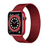 Milanese Loop Strap for Apple Watch 6 Band 44mm 40mm iwatch 38mm 42mm Series 6 SE 5 4 3 2 1 Stainless Steel Strap Bracelet (44mm,ML-red)