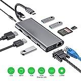 Hub USB C, 11 en 1 Adaptador USB C con HDMI 4K, 1080P VGA, RJ45 Gigabit Ethernet, lectores de tarjetas SD / TF, USB 3.0 / 2.0, USB C Power Delivery, Compatible para MacBook Pro y más