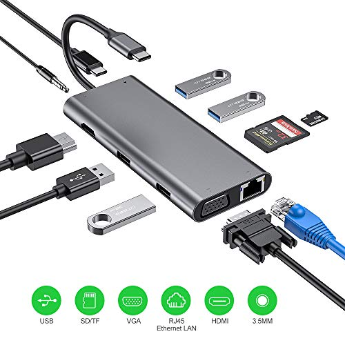 Hub USB C, 11 en 1 Adaptador USB C con HDMI 4K, 1080P VGA, RJ45 Gigabit Ethernet, lectores de tarjetas SD / TF, USB 3.0 / 2.0, USB C Power Delivery, Compatible para MacBook Pro y más