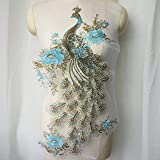 ZYING Sky Blue Sequin Broderie Broderie Dentelle Paon Applique Dentelle Tissu Coucher Couture Robe De Mariage Robe De Mariage Crafts