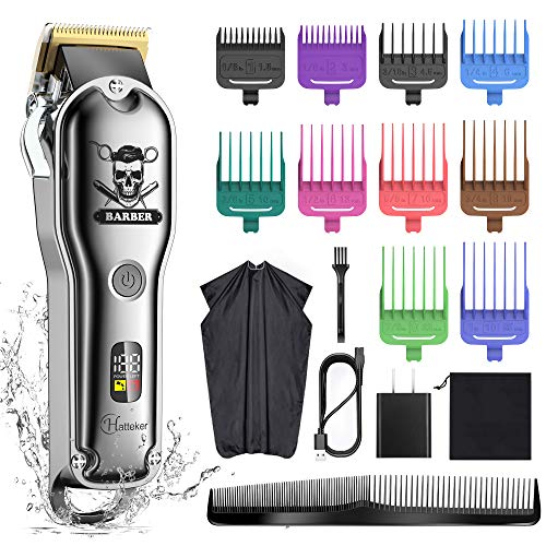 Hatteker Hair Cutting Kit Pro Hair Clippers for Men Professional Barber Clippers IPX7 Waterproof Cordless Beard Trimmer Hair Trimmer