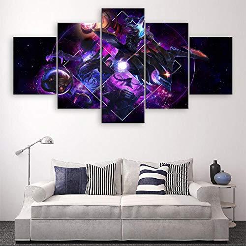 agwKE2 5 Piezas Lienzo Impreso Dark Star Personaje Decoración para el hogar Lienzo Pintura Imágenes LOL Arte de la Pared Cartel del Juego Obra de Arte / 40x60 40x80 40x100cm (sin Marco)