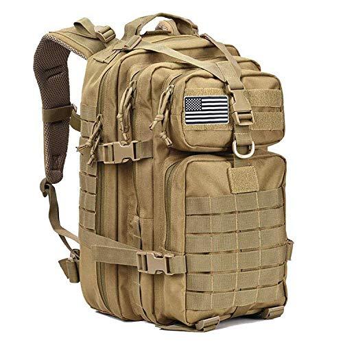 XRQ 50L Large Capacity Men Army Military Tactical Backpack 3P Softback Outdoor Waterproof Bug Rucksack Hiking Camping Hunting Bags,Brown