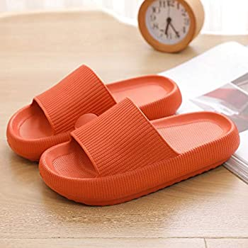 Pillow Slides Sandals Ultra-Soft Slippers Extra Soft Cloud Shoes Anti-Slip, Super Soft Home Slippers Non-Slip, Beach Thick Soled Shoes for Women and Men Slides Orange 40-41