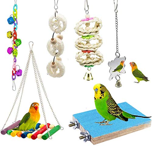 ESRISE Bird Parrot Toys, Hanging Bell Pet Bird Cage Hammock Swing Toy Wooden Perch Mirror Chewing Toy for Small Parrots, Conures, Love Birds, Small Parakeets Cockatiels, Macaws, Finche