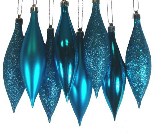 8ct Turquoise Blue Shatterproof 4-Finish Finial Drop Christmas Ornaments 5.5