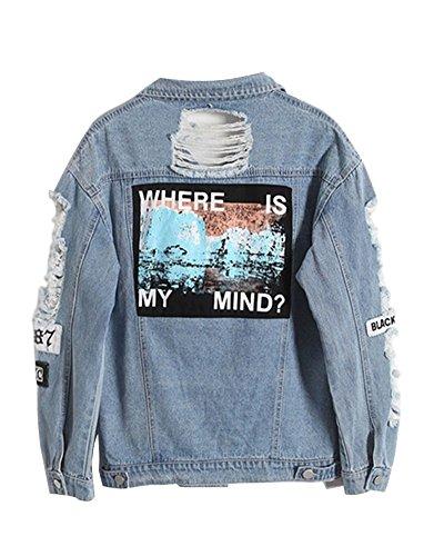 Minetom Damen Casual Jeansjacke mit Patches Blouson Knopfverschluss Cut-Outs Denim Jacket Jeans-Jacke F Blau DE 36