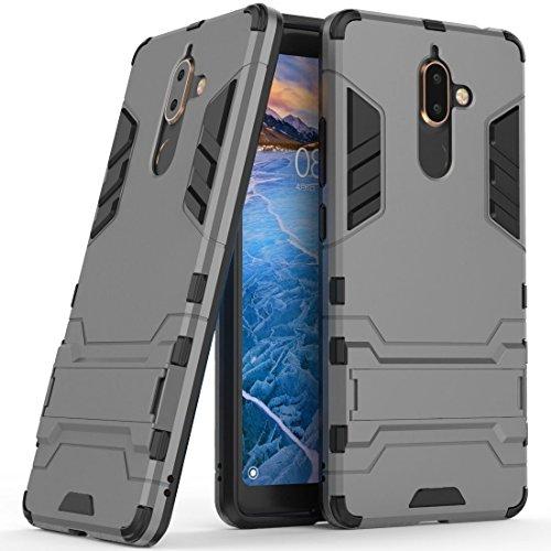 Hoesje voor Nokia 7 Plus (6 inch Scherm) 2 in 1 Hybrid Rugged Schokbestendige Back Cover met Kickstand Hoes (Grijs)